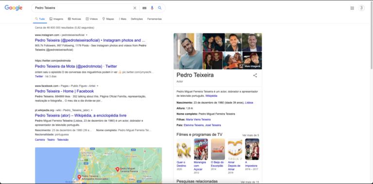 """Resultados da pesquisa no Google por """"Pedro Teixeira"""""""