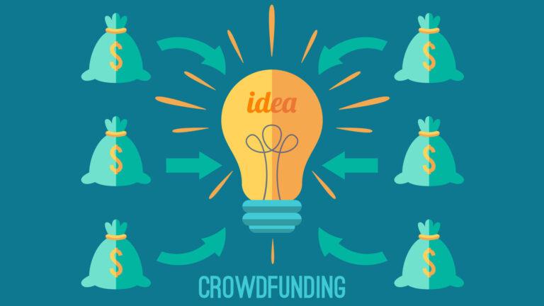 Ilustração alusiva ao Crowdfunding, Tem uma lâmpada de ideias no meio com vários sacos de dinheiro a volta com setas para a lâmpada